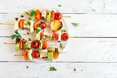 Vegetarian Skewers With Halloumi Cheese poster