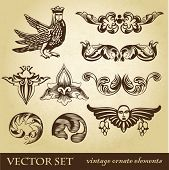 Vector set of vintage design elements and whimsical animals or peoples