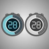Постер, плакат: Electronic Digital Stopwatch Timer 28 Seconds Isolated On Gray Background Stopwatch Icon Set Time