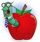 Book Worm In An Apple