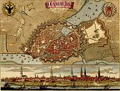 Antique Map Of Hamburg.