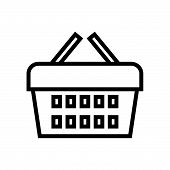 Shopping Basket Vector Icon On White Background. Shopping Basket Modern Icon For Graphic And Web Des poster