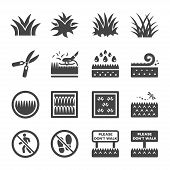 Grass And Weed Icon Set Vector And Illustration poster