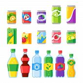 Drink Beverages. Cold Energy Or Fizzy Soda Beverage, Sparkling Water And Canned Fruit Juice In Glass poster