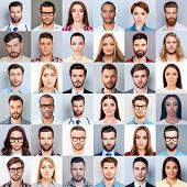 Collage Of Many Diverse, Multi-ethnic Peoples Close Up Heads, Beautiful, Attractive, Handsome, Pret poster