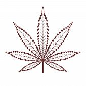 Marijuana Or Cannabis Leaf. Medical Cannabis. Vector Silhouette Of A Hemp Leaf. Vintage Marijuana La poster