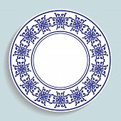 Decorative Plate With A Circular Pattern. Blue Background. Vector Illustration. poster