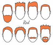 Male Red Hair And Face Fungus Styles Types, Different Hair Cut, Moustaches And Beard, Man Head With  poster