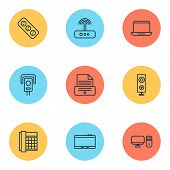 Hardware Icons Set With Office Telephone, Modem, Laptop And Other Notebook Elements. Isolated Vector poster