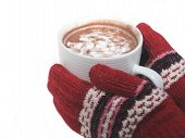 foto of hot-chocolate  - gloved hands holding hot cocoa - JPG