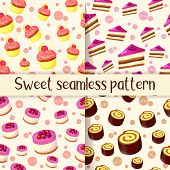 Set Of Colorful Seamless Pattern With Tasty Desserts In Cartoon Style. Cupcake, Cake, Roll And Chees poster