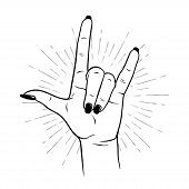 Hand Drawn Female Hand In Rock Gesture. Flash Tattoo, Blackwork, Sticker, Patch Or Print Design Vect poster
