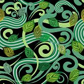 Abstract Green Leaves Seamless Pattern. Vector Leafy Ornamental Patterned Background. Striped Fantas poster