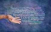 The Meaning Of Spiritualism Word Cloud - Male Hand Gesturing Towards The Word Spiritualism Surrounde poster