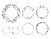 Hand Drawn Line Frames Vector Set. Round Doodle Frameworks With Ornate Borders Illustrations Collect poster