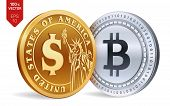 Bitcoin. Dollar Coin. 3d Isometric Physical Coins. Digital Currency. Cryptocurrency. Golden And Silv poster
