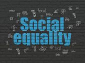Politics Concept: Painted Blue Text Social Equality On Black Brick Wall Background With  Hand Drawn  poster