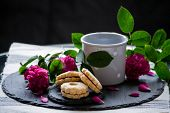 Homemade Vanilla Jam Sandwich Cookies Vanilice Sweets Dessert With Coffee Steam poster
