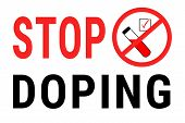 Stop Doping. Positive Doping Test. Red Vector Illustration On White Background With Text. Flat Vecto poster