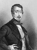 Napoleon III aka Louis Napoleon Bonaparte (1808-1873). Engraved by Jekins and published in Fisher's Drawing Room Scrap Book, United Kingdom, 1850.