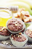 homemade muffins with banana and toffee - sweet food  /shallow DOFF/