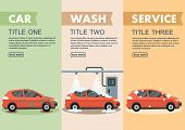 Infographics Stages Car Wash Vector Illustration. Clipart. Flat Style. poster