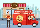 Cartoon Pizza Courier On Truck Carries Pizza Order. Service Delivery Pizza Concept. Pizzeria. Pizzai poster