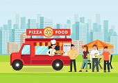 Cartoon People Stand In Line Near Pizza Vagon. Pizzeria Concept. Vector Illustration. Clipart. poster