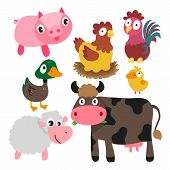 Animals Character Design, Cute Animals Collection, Face Animals Set, Smile Set poster
