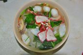 noodle with meat, vegetables sell in the food store