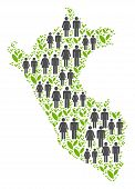 People Population And Eco Peru Map. Vector Collage Of Peru Map Designed Of Randomized Person And Spr poster