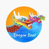 Happy Dragon Boat Festival With 3 Dragon Boat On River In Circle Vector Design poster