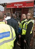 Security Is Tight At The Visitors Turnstile At The League 1 Match Between Exeter City Fc And Plymout
