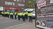 A Line Of Police As Part Of The Operation By Devon And Cornwall Police To Prevent Football Violence