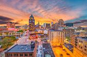 Milwaukee, WIsconsin, USA downtown skyline at dusk. poster