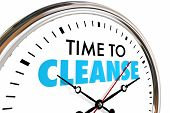 Time to Cleanse Clock Purify Detoxify Words 3d Render Illustration poster