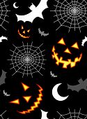 stock photo of spider web  - Halloween horror symbols seamless pattern background - JPG