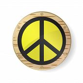 Sign Pacifist, Peace Symbol. Black Hippie Sign In Gold Frame, Circle With Birch Bark And White Backg poster