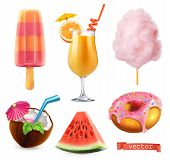Summer, Sweet Food. Ice Cream, Orange Juice, Cotton Candy, Cocktail, Watermelon, Donut. 3d Realistic poster