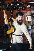 Man With Shouting Face Play Guitar, Singing Song, Play Music. Musician With Beard Play Electric Guit poster
