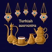 Turkish Souvenirs Greeeting Card Template With Traditional Ceramic Lanterns And Brass Utensils Pitch poster