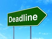 Finance Concept: Deadline On Green Road Highway Sign, Clear Blue Sky Background, 3d Rendering poster