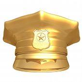 Boné de polícia dourada