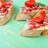 Fresh Tasty Salami Sandwiches. Appetizing Sandwiches With Smoked Sausage, Cream Cheese And Tomatoes. poster