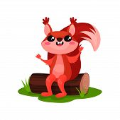 Cheerful Red Squirrel With Paws Up Sitting On Tree Log. Cute Forest Rodent With Big Fluffy Tail And  poster