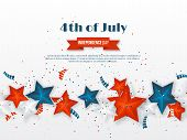 4th Of July - Independence Day Of America. American Holiday Background. 3d Stars In National Colors  poster