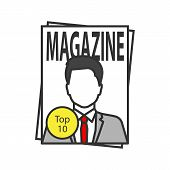 Magazine Color Icon. Tabloid. Periodical Publication With Celebrity Photo. Isolated Vector Illustrat poster