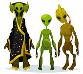 Cartoon Aliens Staring Or Funny Extraterrestrial Standing, Monster From Cosmos With Bathrobe, Ufo Ch poster