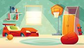 Vector Children S Bedroom Interior With Window - Furniture, Toys For Boy. Shelves With Books, Basket poster