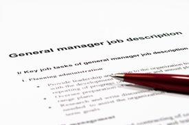 foto of verbs  - Close up image of general manager job description - JPG